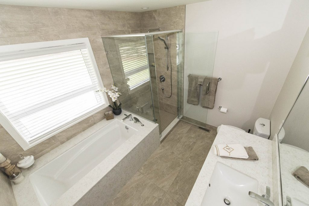 Taupe tiles in bathroom