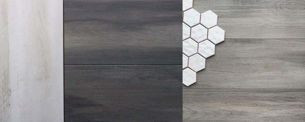 Avant Garde Piombo, Taupe and Zeeland White 8x48 Wood Look Italian Porcelain tiles.