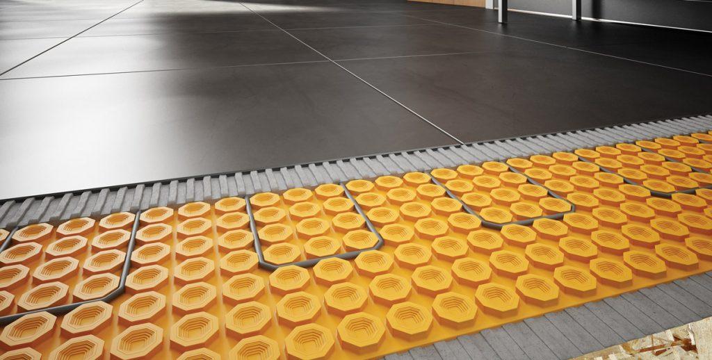 In-floor heating with Schluter®-DITRA-HEAT.